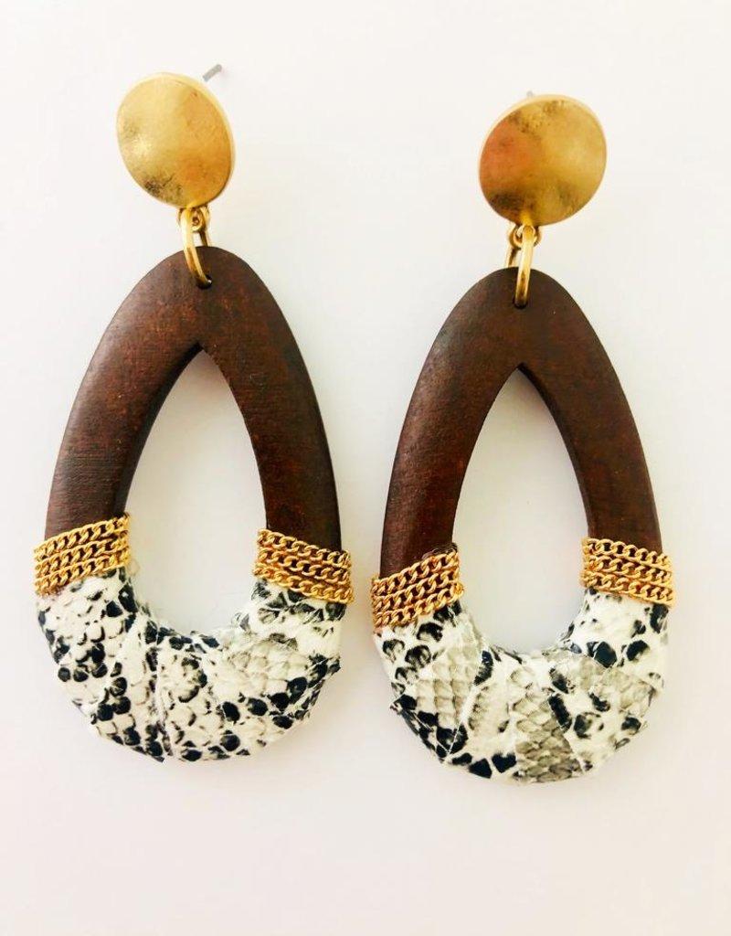 Fashionistar Wooden Snake Teardrop Earring