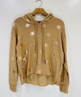 Chaser Brand Chaser Rose Gold Stars Cropped Hoodie