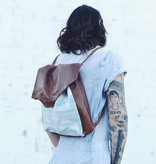 Wild Wanderer Design Wild Wanderer Design Brown Leather and Vintage Tapestry Backpack Tote