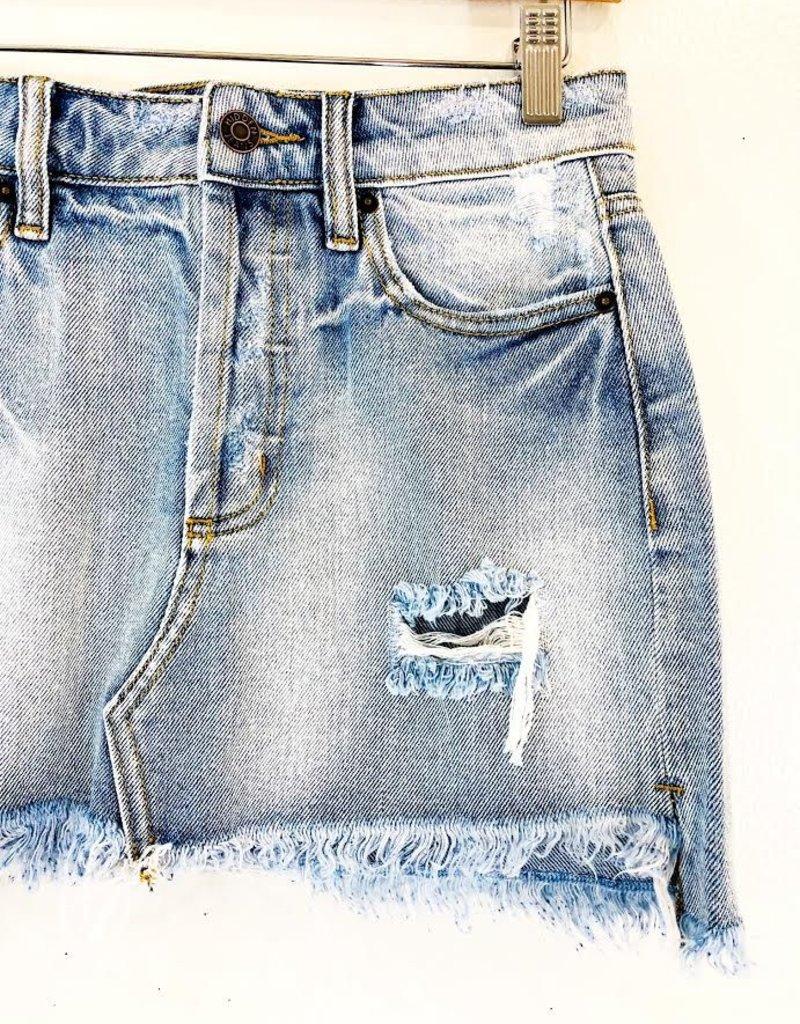 Hidden Hidden Mini Skirt w. Destroy & Uneven Fray Hem