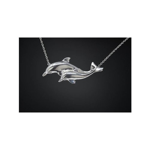Nautilus Jewelry NAUTILUS JEWELRY DOUBLE DOLPHIN NECKLACE SILVER