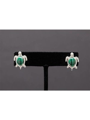 Nautilus Jewelry NAUTILUS JEWELRY MALACHITE CABOCHONS TURTLE  EARRINGS SILVER