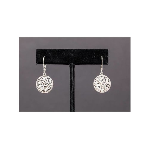 Nautilus Jewelry NAUTILUS JEWELRY FAN CORAL EARRINGS W/ LEVER BACK SILVER