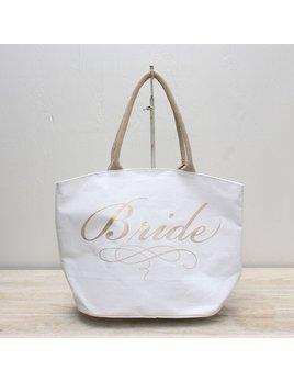 Tote Bride Arch Top Tote, White/Gold