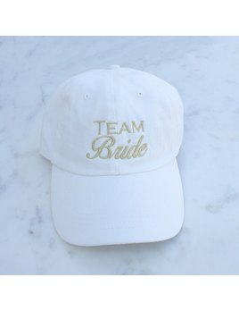 Hat Team Bride Baseball Hat, White/Gold