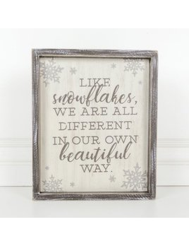 Sign Like Snowflakes, We Are All Wood Framed Sign