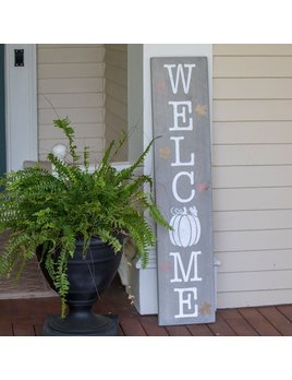 Sign Welcome Pumpkin Vertical Barn Board