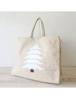 Tote Christmas Tree Herringbone Shopper Tote