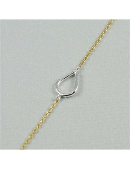 NECKLACE Silver Teardrop Sideways Necklace - Gold Chain