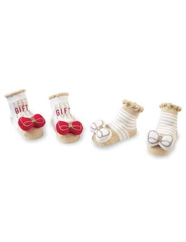 socks Christmas Bow Rattle Toe Sock Set