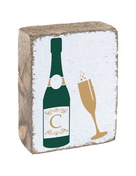 White Tumbling Block, Champagne Bottle and Glass