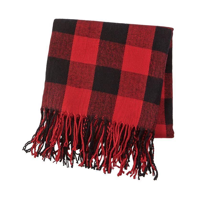 BLANKET Red Buffalo Check Fringe Blanket