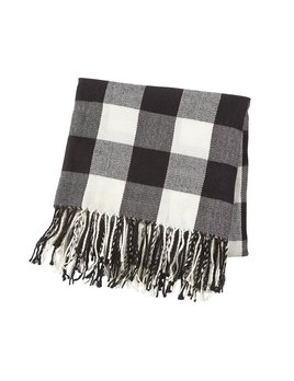 BLANKET White Buffalo Check Fringe Blanket