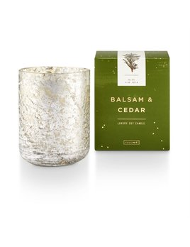 candle Small Luxe Sanded Mercury Glass, Balsam and Cedar