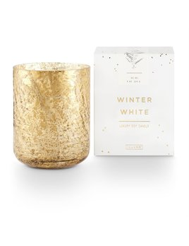 candle Small Luxe Sanded Mercury Glass, Winter White