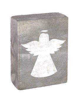 Gray Wash Tumbling Block - White Angel