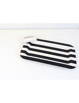 PLATTER Black Stripe Entertaining Mini Platter with Now Serving Mini Attachment