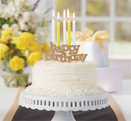 Happy Birthday Candle Holder Cake Topper