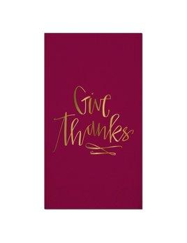 NAPKINS 16ct Foil Guest Towel - Give Thanks