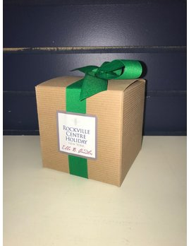 11oz Boxed Candle - Rockville Centre Holiday, Emerald Grosgrain Ribbon - Birchwood and Evergreen Bark