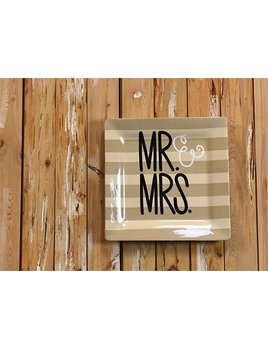 "PLATTER Mr. & Mrs. Wedding 12"" Square Platter"