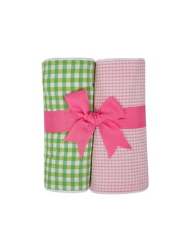 BURP PADS Pink Alligator Set of Two Burp Cloths