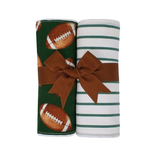 BURP CLOTH Football Set of Two Burp Cloths