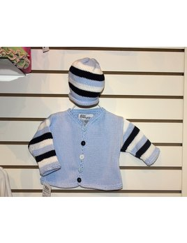Lt. Blue and Navy Striped Sweater Set with Hat