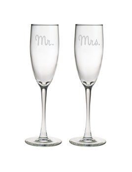 GLASSES Mr. & Mrs. Champagne Glass Set of 2