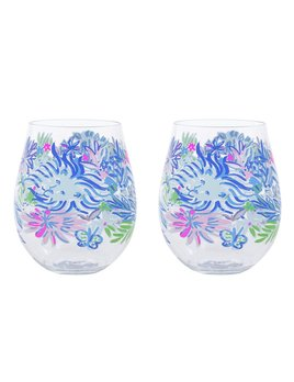WINE GLASS Lilly Pulizer Acrylic Wine Glass Set, Lion Around
