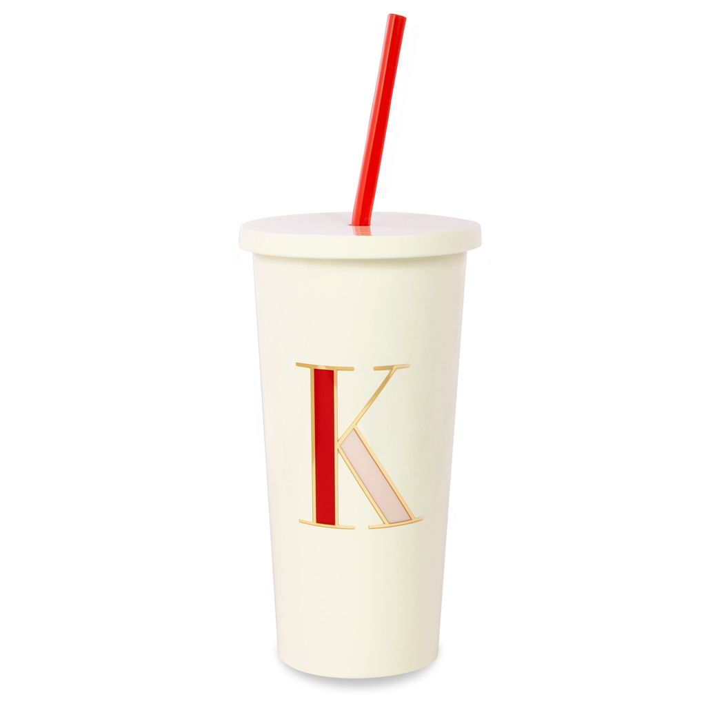 TUMBLER Kate Spade New York Initial Tumbler With Straw, K