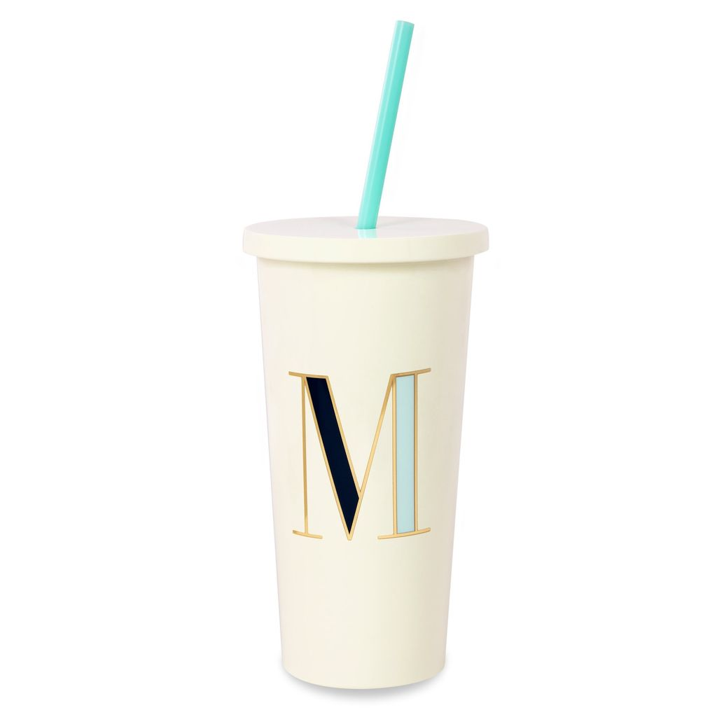 TUMBLER Kate Spade New York Initial Tumbler With Straw, M