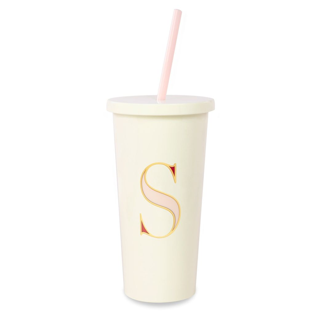 TUMBLER Kate Spade New York Initial Tumbler With Straw, S