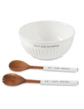BOWL Don't Stop Be-Leafing Salad Bowl Set