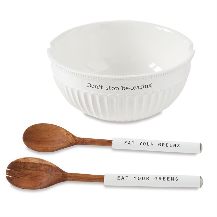 BOWL Don't Stop Be-Leafing Salad Bowl Set