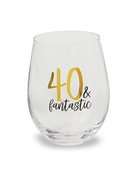 40 & Fantastic Stemless Wine Glass
