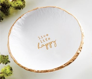 TRINKET TRAY Happy Pazitive Gold Foil Trinket Dish