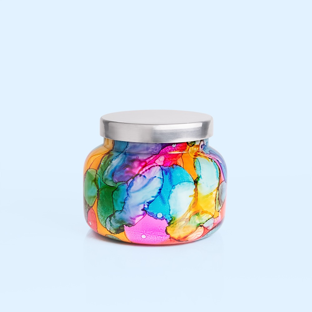 CANDLE CAPRI BLUE - VOLCANO RAINBOW WATERCOLOR SIGNATURE JAR, 19 OZ CANDLE