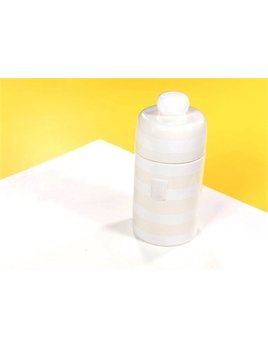 White Stripe Happy Everything Mini Canister
