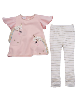 LEGGING UNICORN TUNIC AND LEGGING SET, 2T