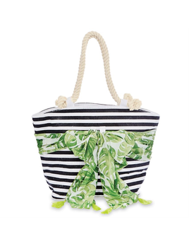 TOTE BAG SARONG - ALONG TOTE BAG IN BLACK STRIPE