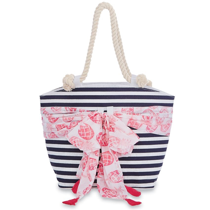 TOTE BAG SARONG - ALONG TOTE BAG IN NAVY STRIPE