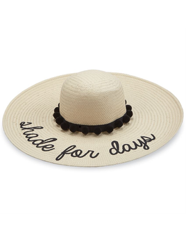 HAT SHADE FOR DAYS STRAW BLACK POM - POM SUN HAT