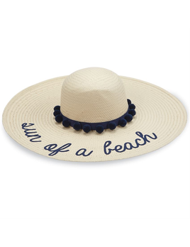 HAT SUN OF A BEACH STRAW NAVY POM - POM SUN HAT