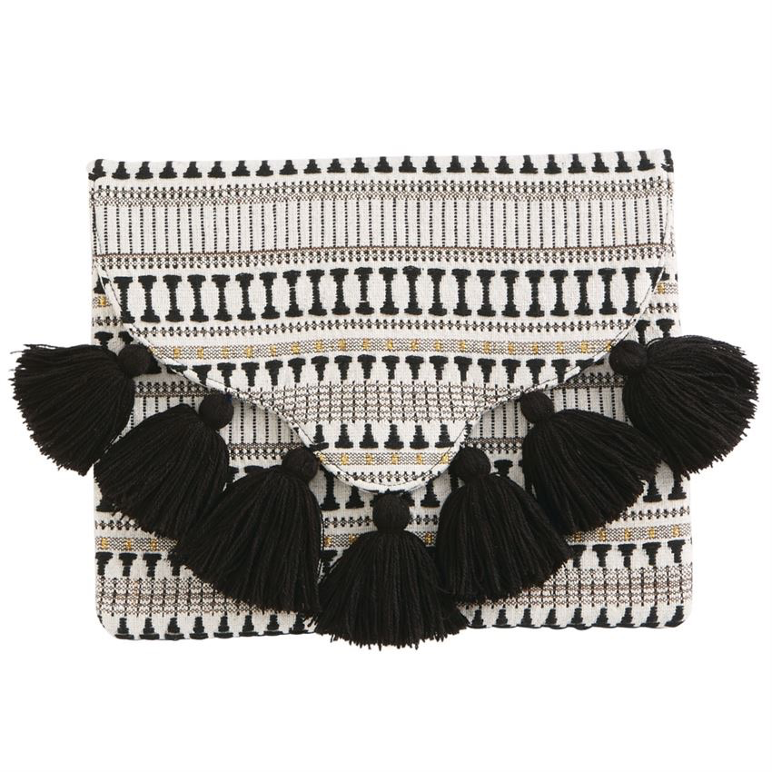 CLUTCH WOVEN TASSEL ENVELOPE CLUTCH IN BLACK