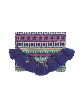 CLUTCH WOVEN TASSEL ENVELOPE CLUTCH IN BLUE
