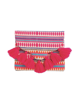 CLUTCH WOVEN TASSEL ENVELOPE CLUTCH IN PINK