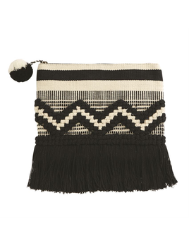 CLUTCH HAND-LOOMED WOVEN FRINGE CLUTCH IN BLACK