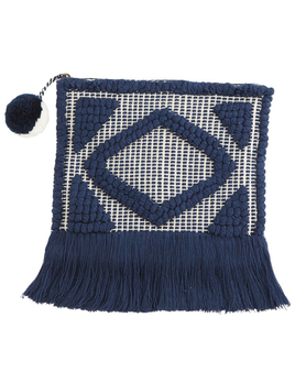 CLUTCH HAND-LOOMED WOVEN FRINGE CLUTCH IN NAVY