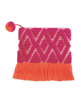 CLUTCH HAND-LOOMED WOVEN FRINGE CLUTCH IN PINK